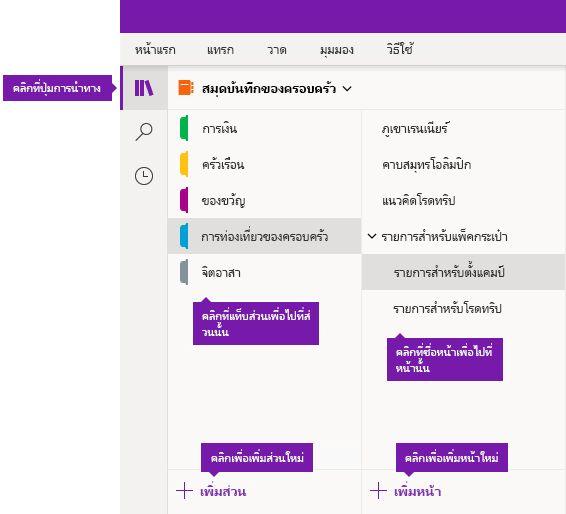 ส่วนและหน้าใน OneNote สำหรับ Windows 10