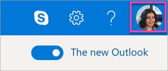 Outlook บนรูปภาพบัญชีผู้ใช้บนเว็บ