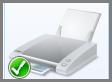 เครื่องหมายถูกสีเขียวบนเครื่องพิมพ์เริ่มต้น