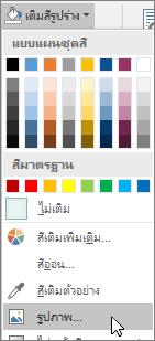 สกรีนช็อตของตัวเลือกเติมสีรูปภาพจากเติมสีรูปร่างบนแท็บรูปแบบใน Publisher