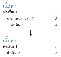 แสดงการเปลี่ยนจำนวนระดับเพื่อที่ระดับ 3 ไม่ปรากฏ