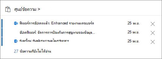 ศูนย์ข้อความการ์ดในศูนย์การจัดการ Office 365