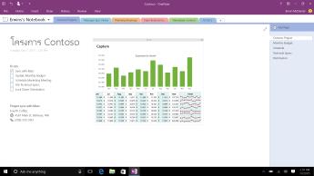 สมุดบันทึก OneNote ที่มีหน้าโครงการ Contoso ที่แสดงรายการที่ต้องทำและแผนภูมิแท่งภาพรวมรายจ่ายรายเดือน