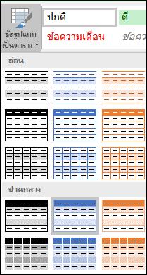 การเลือกส่วนแกลเลอรีสไตล์ของ Excel สำหรับจัดรูปแบบเป็นตาราง