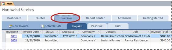 แท็บ ใบแจ้งหนี้ ของเทมเพลตฐานข้อมูล Services