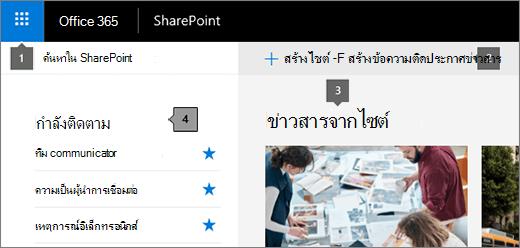 หน้าหลักของ SharePoint Online