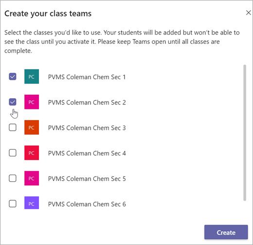 หน้าต่างสร้างทีมชั้นเรียนของคุณ เลือกกล่องกาเครื่องหมายเพื่อเลือกชั้นเรียน