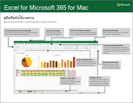 คู่มือเริ่มต้นใช้งานด่วนสำหรับ Excel 2016 for Mac
