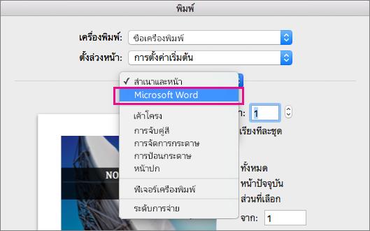 ในกล่องโต้ตอบพิมพ์ เลือก Microsoft Word เพื่อกำหนดค่าการตั้งค่าเพิ่มเติมสำหรับการพิมพ์