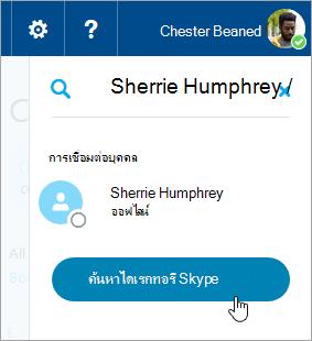 สกรีนช็อตของกล่องค้นหาในบานหน้าต่าง Skype