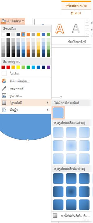 แกลเลอรีไล่ระดับสีที่เปิดจากรูปแบบของเครื่องมือการวาด