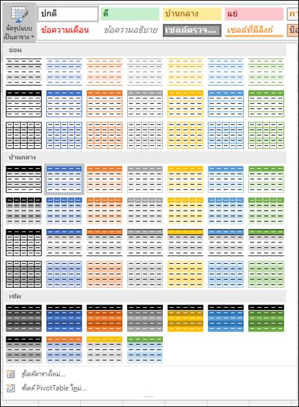 แกลเลอรีสไตล์ตาราง Excel