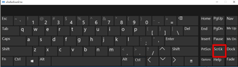 คีย์บอร์ดบนหน้าจอของ Windows 10 ที่มี Scroll Lock