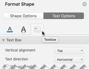 ในบานหน้าต่างจัดรูปแบบรูปร่าง ให้เลือกตัวเลือกข้อความ > กล่องข้อความ
