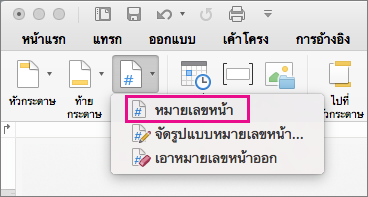 บนแท็บหัวกระดาษและท้ายกระดาษ คลิกหมายเลขหน้าบนเมนูหมายเลขหน้าเพื่อเพิ่มหมายเลขหน้า