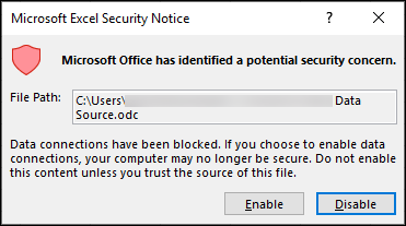 การแจ้งเตือนเกี่ยวกับความปลอดภัยของ Microsoft Excel-ระบุว่า Excel ได้ระบุปัญหาด้านความปลอดภัยที่อาจเกิดขึ้นได้ เลือกเปิดใช้งานถ้าคุณเชื่อถือตำแหน่งที่ตั้งไฟล์ต้นฉบับให้ปิดใช้งานถ้าคุณไม่ได้ใช้งาน