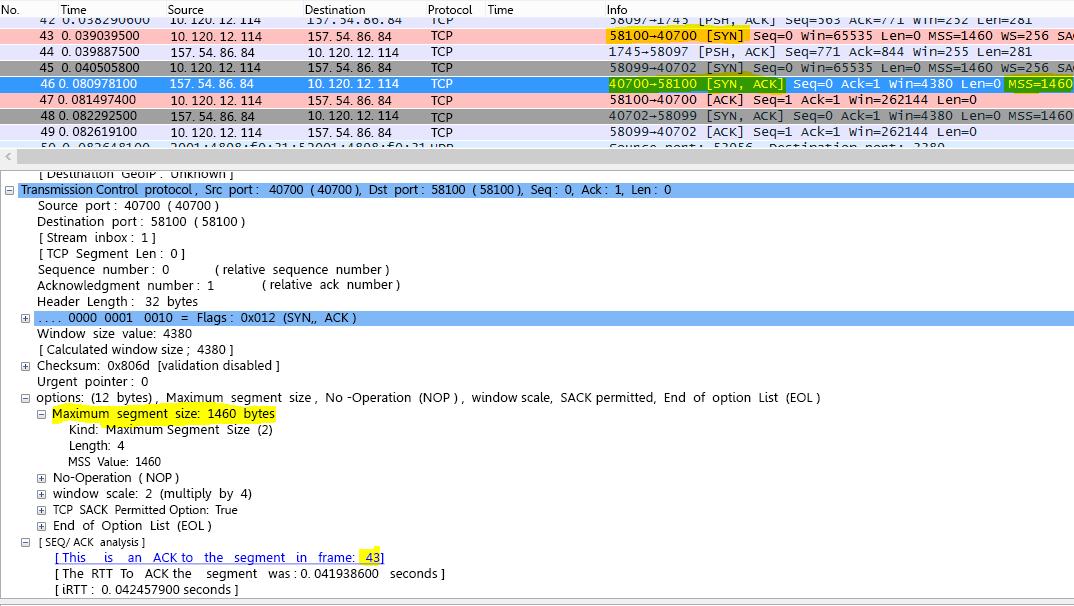 การติดตามจะถูกกรองใน Wireshark ด้วย tcp.options.mss สำหรับ Max Segment Size (MSS)