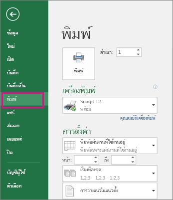 คลิก ไฟล์ > พิมพ์ เพื่อแสดงตัวอย่างเวิร์กชีตของคุณ