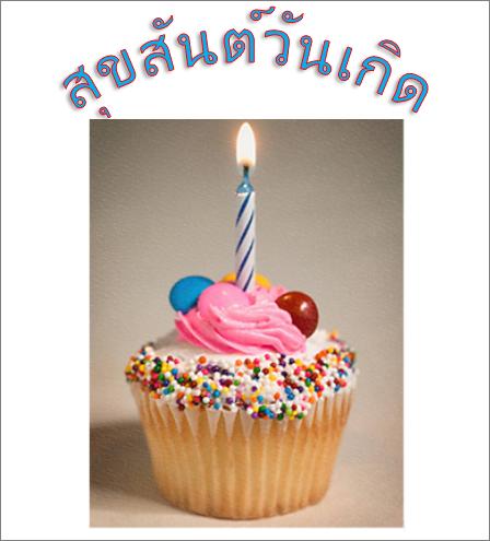 ตัวอย่างอักษรศิลป์พร้อมคำว่า Happy Birthday และรูปภาพ