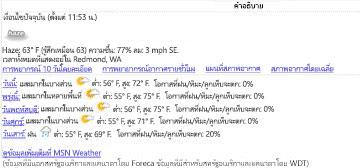 มุมมองข้อมูลของ MSN Weather