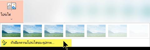ตัวเลือกความโปร่งใสของรูปภาพช่วยให้คุณเลือกระดับความทึบที่กำหนดเองสำหรับรูปภาพ