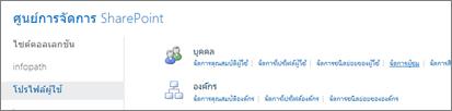 จัดการผู้ชมลิงก์บนหน้าโปรไฟล์ผู้ใช้