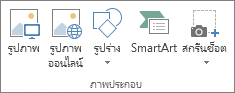 กลุ่ม ภาพประกอบ บนแท็บ แทรก ใน Excel