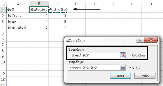 เมื่อต้องการเลือกเซลล์อื่นเพื่อใช้เป็นชื่อคำอธิบายแผนภูมิ ให้คลิกในกล่องข้อความ ชื่อชุดข้อมูล