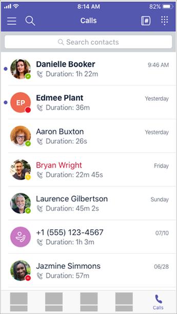 ประวัติการโทร แป้นกดหมายเลข และผู้ติดต่อ