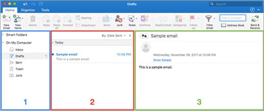 แผนภูมิของข้อความแสดงตัวเลือกขนาดใน Outlook