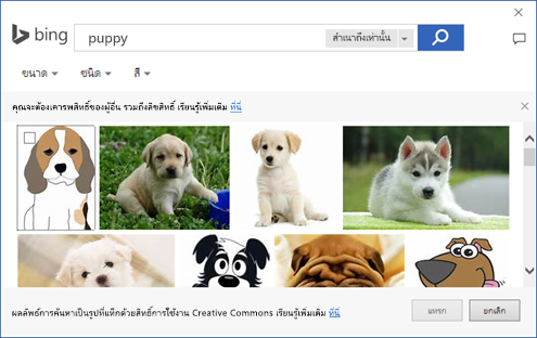 สกรีนช็อตของกล่องโต้ตอบที่คุณสามารถเพิ่มภาพตัดปะในแอป Office