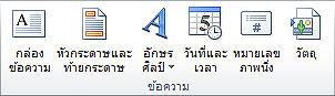 กลุ่ม ข้อความ บนแท็บ แทรก ใน Ribbon ของ PowerPoint 2010