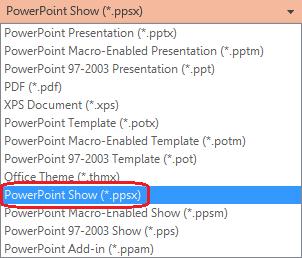 """รายการประเภทไฟล์ใน PowerPoint รวม """"PowerPoint Show (.ppsx)"""""""