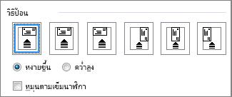 ไดอะแกรมตัวเลือกการป้อน เพื่อป้อนซองจดหมายเข้าเครื่องพิมพ์