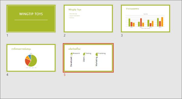 แสดงมุมมองตัวเรียงลำดับสไลด์ใน PowerPoint