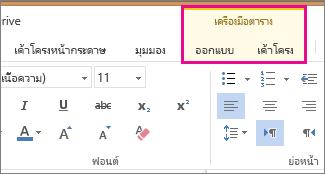 รูปภาพของแท็บ ออกแบบ และ เค้าโครง ภายใต้ เครื่องมือตาราง ใน Word Online