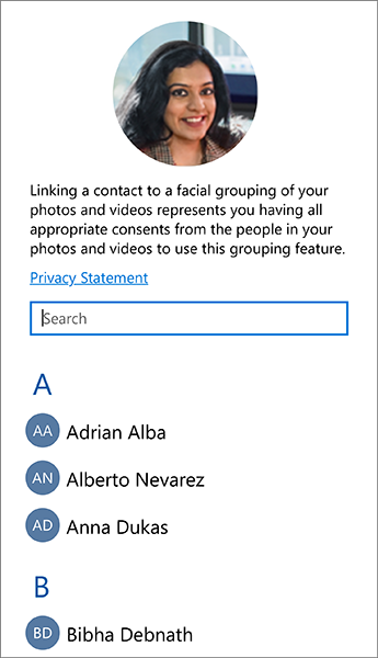 Screenshot of the list that you can use to link contacts to facial groupings.