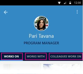 หน้า บุคคล ใน Delve สำหรับ Android