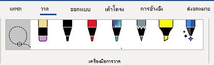 แท็บเครื่องมือการวาดของ ribbon ของ Word