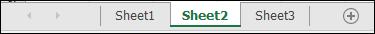 แท็บแผ่นงานที่ด้านล่างของหน้าต่าง Excel
