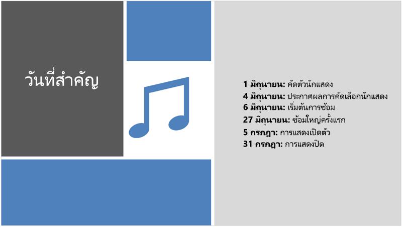 สไลด์ตัวอย่างที่มีไทม์ไลน์ของข้อความที่เพิ่มภาพประกอบและการออกแบบของ PowerPoint Designer