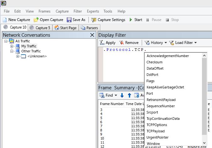 สกรีนช็อต Netmon แสดงเขตข้อมูล Display Filter ที่ใช้ IntelliSense