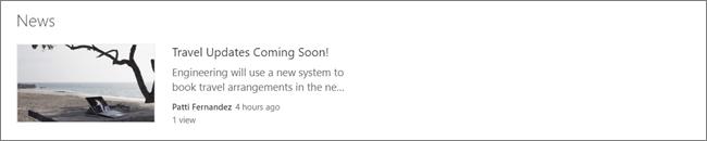 สกรีนของ web part ข่าวสารของไซต์ SharePoint ที่มีการกรองโพสต์