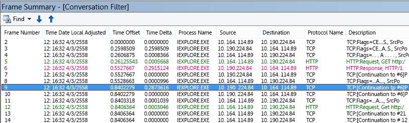 General latencyใน Netmon และคอลัมน์ Netmon default Time Delta ถูกเพิ่มลงในเฟรมสรุป