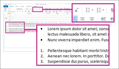 ตัวอย่างรายการลำดับเลขและรายการสัญลักษณ์แสดงหัวข้อย่อยในข้อความ