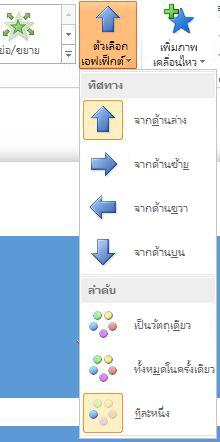 ปุ่ม ตัวเลือกเอฟเฟ็กต์ ในกลุ่ม ภาพเคลื่อนไหว