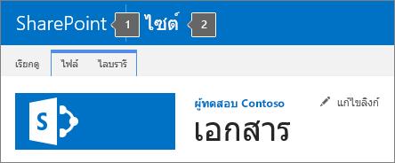 SharePoint 2016 มุมบนซ้ายของหน้าจอที่แสดงชื่อเรื่องและเปิดใช้แอป
