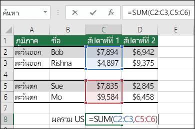 การใช้ SUM กับช่วงที่ไม่ได้อยู่ติดกัน  สูตรของเซลล์ C8 คือ =SUM(C2:C3,C5:C6) คุณยังสามารถใช้ช่วงที่มีชื่อ ดังนั้นสูตรจะเป็น = SUM(สัปดาห์ที่1,สัปดาห์ที่2)
