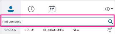 When the Skype for Business Search box is empty, the available tabs are Groups, Status, Relationships, and New.