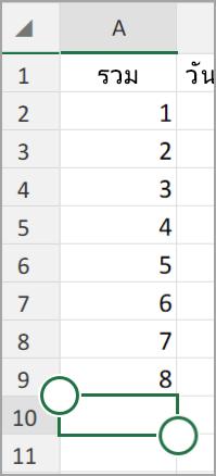 แท็บเล็ต android ผลรวมอัตโนมัติ Excel